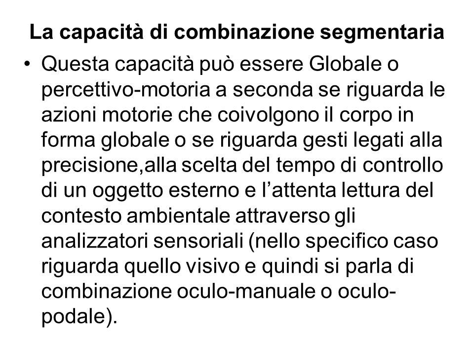La capacità di combinazione segmentaria Questa capacità può essere Globale o percettivo-motoria a seconda se riguarda le azioni motorie che coivolgono