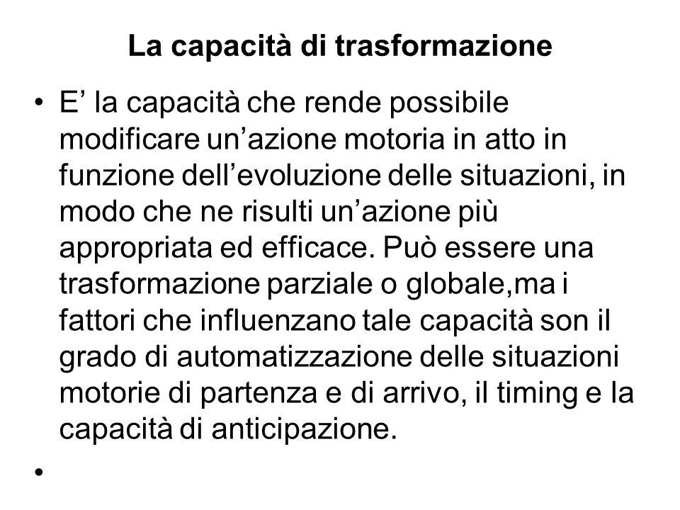 La capacità di trasformazione E la capacità che rende possibile modificare unazione motoria in atto in funzione dellevoluzione delle situazioni, in mo