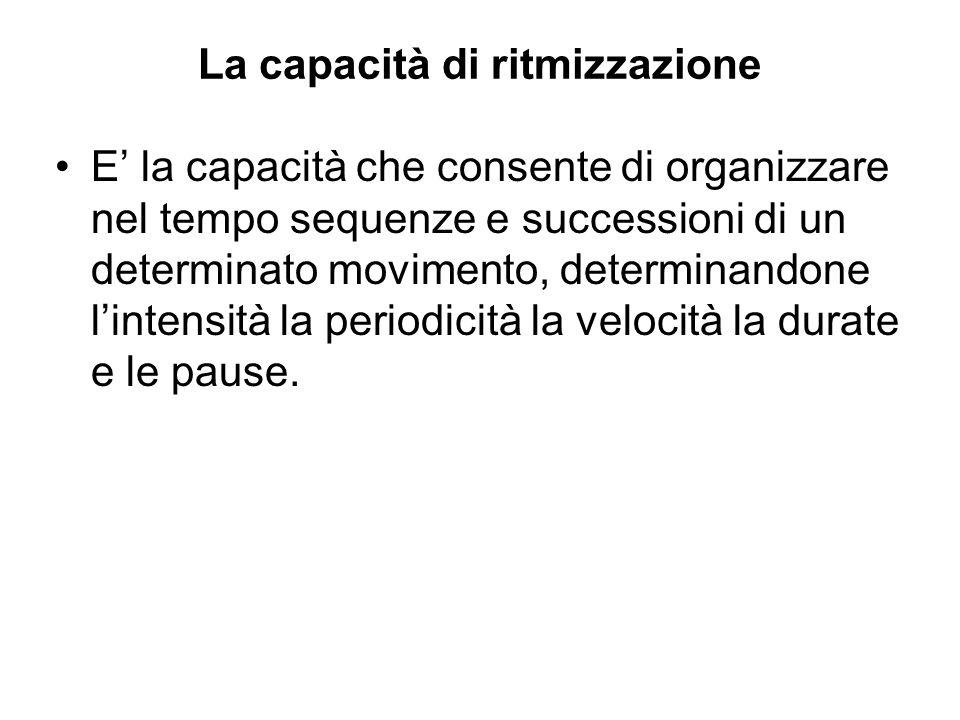 La capacità di ritmizzazione E la capacità che consente di organizzare nel tempo sequenze e successioni di un determinato movimento, determinandone li