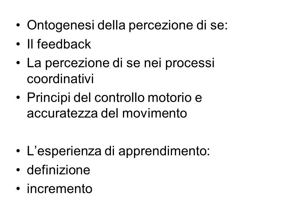 Ontogenesi della percezione di se: Il feedback La percezione di se nei processi coordinativi Principi del controllo motorio e accuratezza del moviment