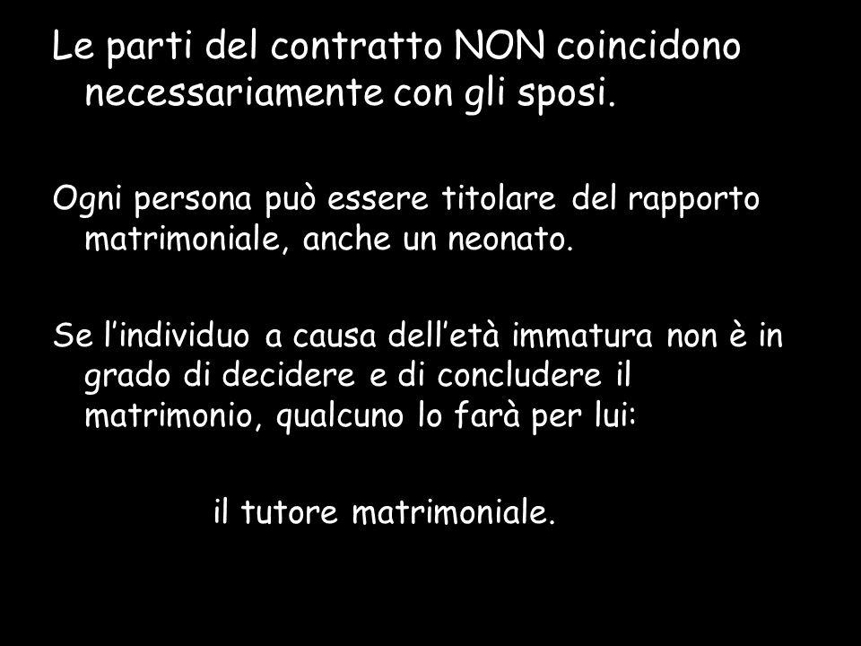 Le parti del contratto NON coincidono necessariamente con gli sposi. Ogni persona può essere titolare del rapporto matrimoniale, anche un neonato. Se