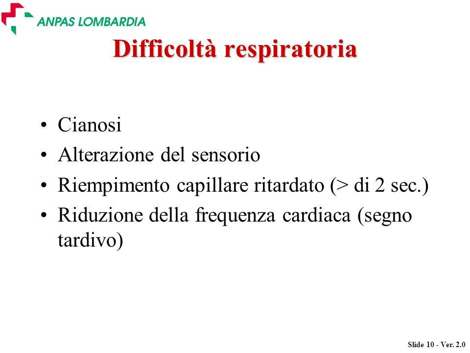 Slide 10 - Ver. 2.0 Difficoltà respiratoria Cianosi Alterazione del sensorio Riempimento capillare ritardato (> di 2 sec.) Riduzione della frequenza c