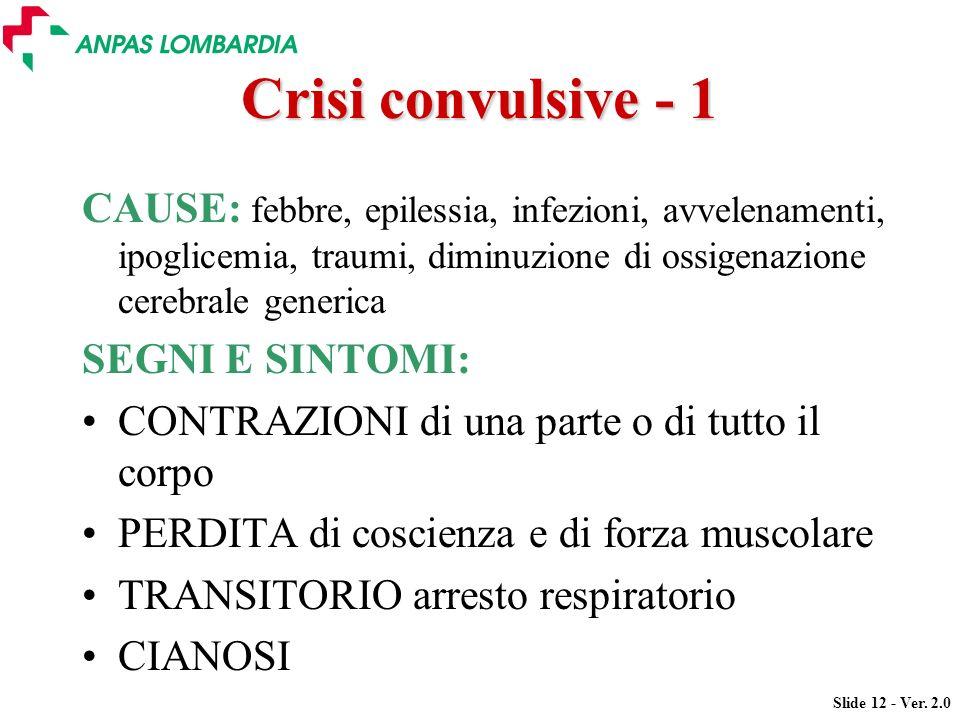 Slide 12 - Ver. 2.0 Crisi convulsive - 1 CAUSE: febbre, epilessia, infezioni, avvelenamenti, ipoglicemia, traumi, diminuzione di ossigenazione cerebra