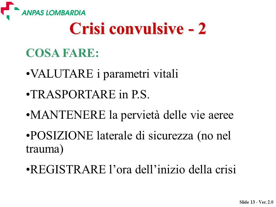 Slide 13 - Ver. 2.0 COSA FARE: VALUTARE i parametri vitali TRASPORTARE in P.S. MANTENERE la pervietà delle vie aeree POSIZIONE laterale di sicurezza (
