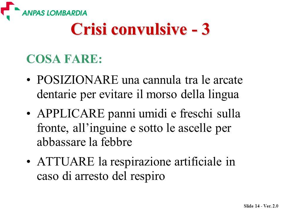 Slide 14 - Ver. 2.0 Crisi convulsive - 3 COSA FARE: POSIZIONARE una cannula tra le arcate dentarie per evitare il morso della lingua APPLICARE panni u