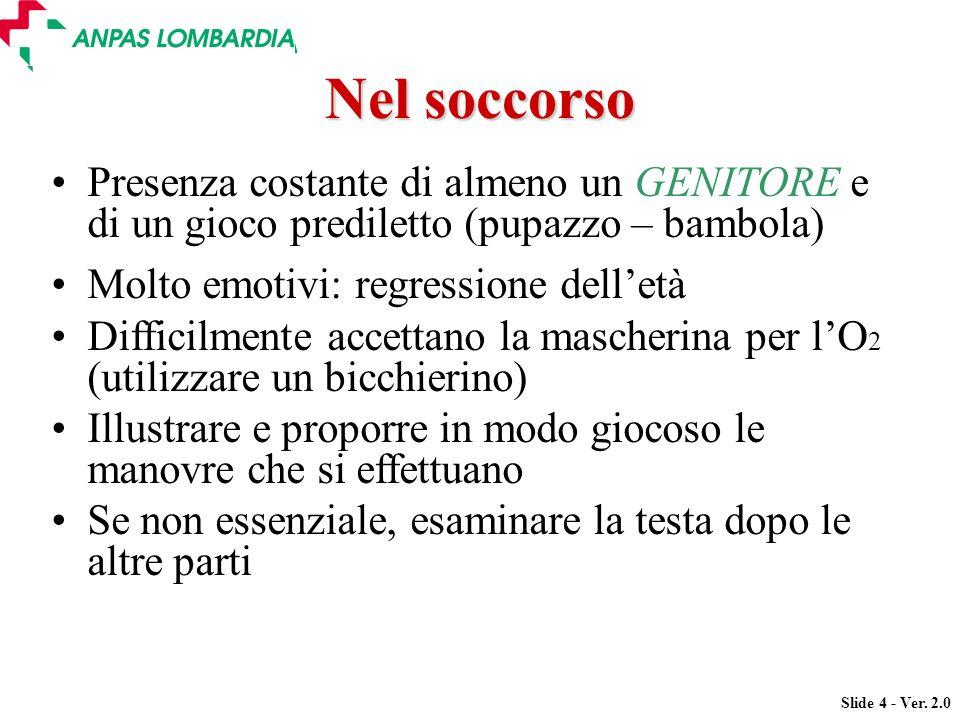 Slide 4 - Ver. 2.0 Presenza costante di almeno un GENITORE e di un gioco prediletto (pupazzo – bambola) Molto emotivi: regressione delletà Difficilmen