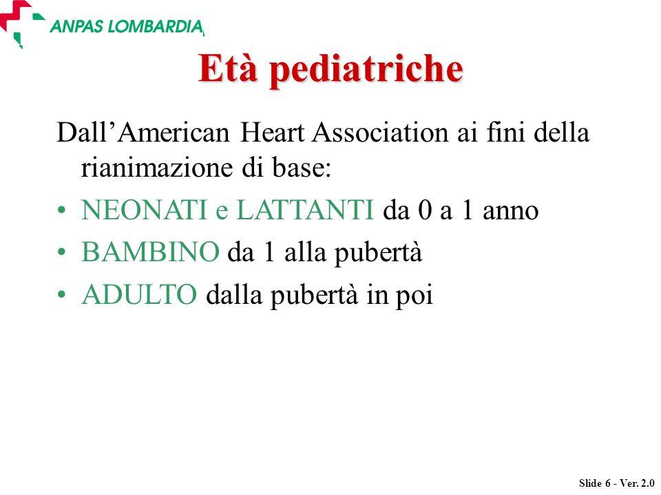 Slide 6 - Ver. 2.0 DallAmerican Heart Association ai fini della rianimazione di base: NEONATI e LATTANTI da 0 a 1 anno BAMBINO da 1 alla pubertà ADULT