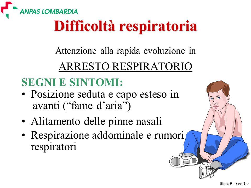 Slide 9 - Ver. 2.0 Difficoltà respiratoria Attenzione alla rapida evoluzione in ARRESTO RESPIRATORIO SEGNI E SINTOMI: Posizione seduta e capo esteso i