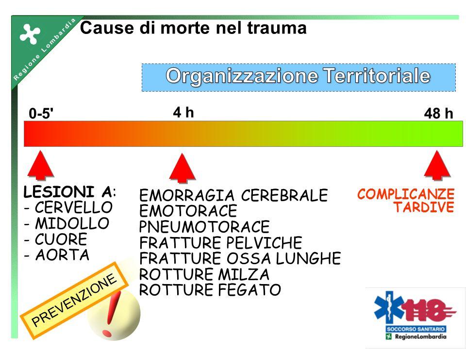 0-5 4 h 48 h LESIONI A: - CERVELLO - MIDOLLO - CUORE - AORTA EMORRAGIA CEREBRALE EMOTORACE PNEUMOTORACE FRATTURE PELVICHE FRATTURE OSSA LUNGHE ROTTURE MILZA ROTTURE FEGATO Cause di morte nel trauma COMPLICANZE TARDIVE PREVENZIONE