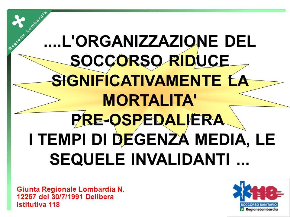 ....L ORGANIZZAZIONE DEL SOCCORSO RIDUCE SIGNIFICATIVAMENTE LA MORTALITA PRE-OSPEDALIERA, I TEMPI DI DEGENZA MEDIA, LE SEQUELE INVALIDANTI...
