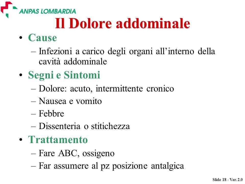 Slide 18 - Ver. 2.0 Il Dolore addominale Cause –Infezioni a carico degli organi allinterno della cavità addominale Segni e Sintomi –Dolore: acuto, int