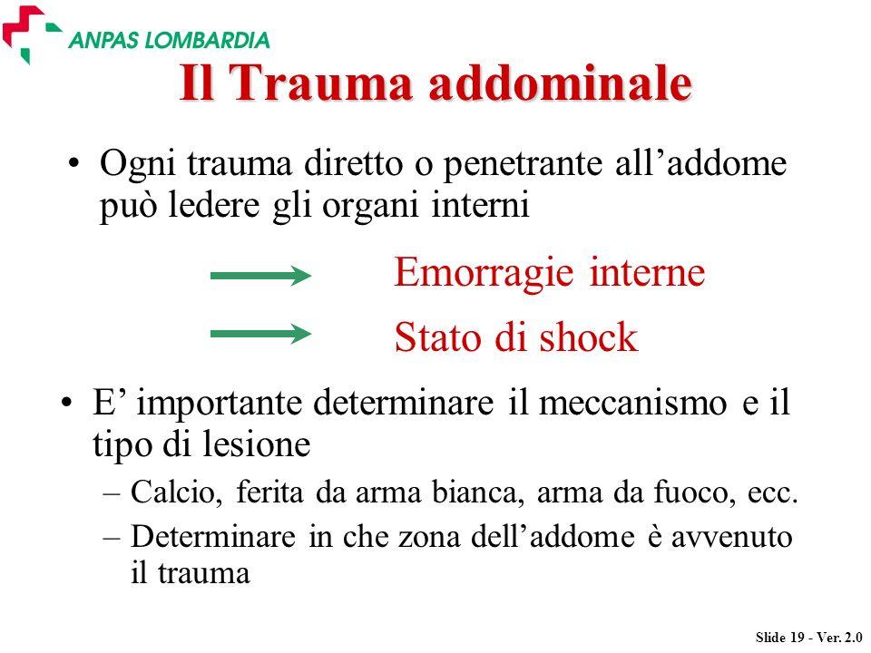 Slide 19 - Ver. 2.0 Il Trauma addominale Ogni trauma diretto o penetrante alladdome può ledere gli organi interni Emorragie interne Stato di shock E i