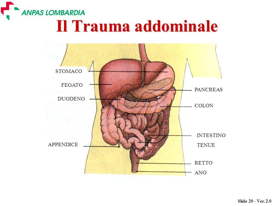 Slide 20 - Ver. 2.0 Il Trauma addominale PANCREAS COLON INTESTINO TENUE RETTO ANO STOMACO FEGATO DUODENO APPENDICE