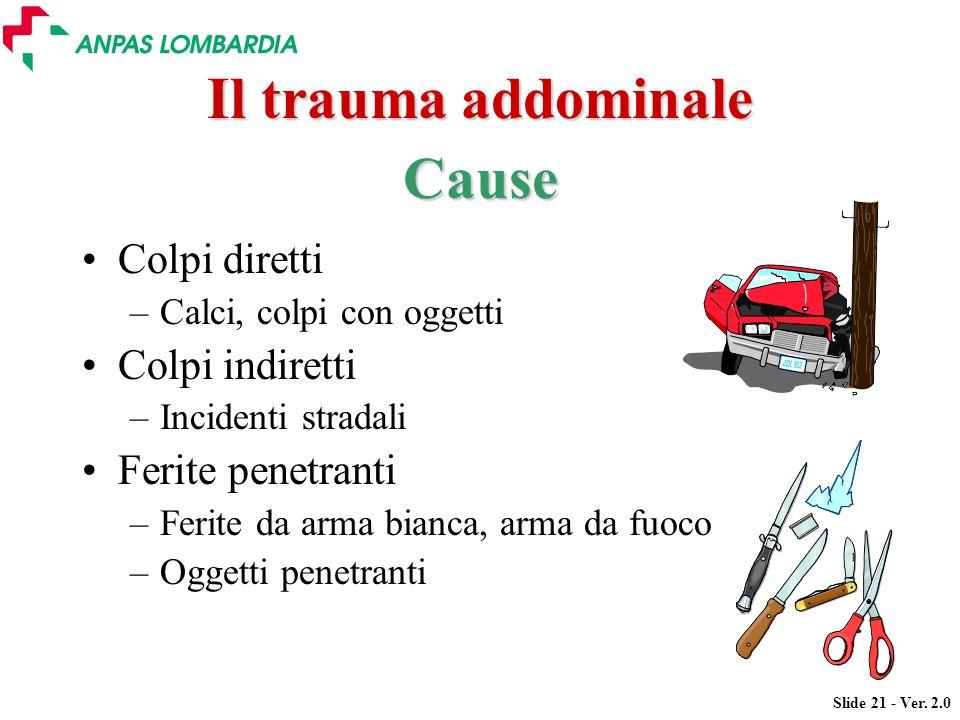 Slide 21 - Ver. 2.0 Il trauma addominale Colpi diretti –Calci, colpi con oggetti Colpi indiretti –Incidenti stradali Ferite penetranti –Ferite da arma
