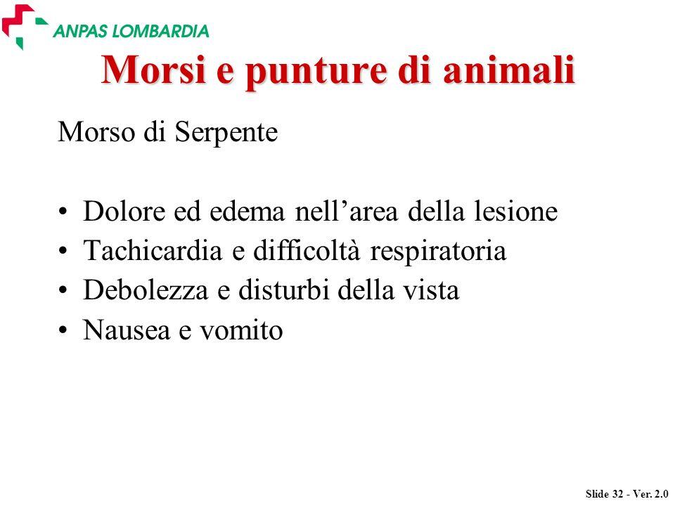 Slide 32 - Ver. 2.0 Morsi e punture di animali Morso di Serpente Dolore ed edema nellarea della lesione Tachicardia e difficoltà respiratoria Debolezz
