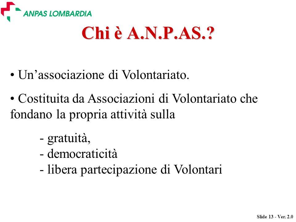 Slide 13 - Ver. 2.0 Chi è A.N.P.AS.? Unassociazione di Volontariato. Costituita da Associazioni di Volontariato che fondano la propria attività sulla