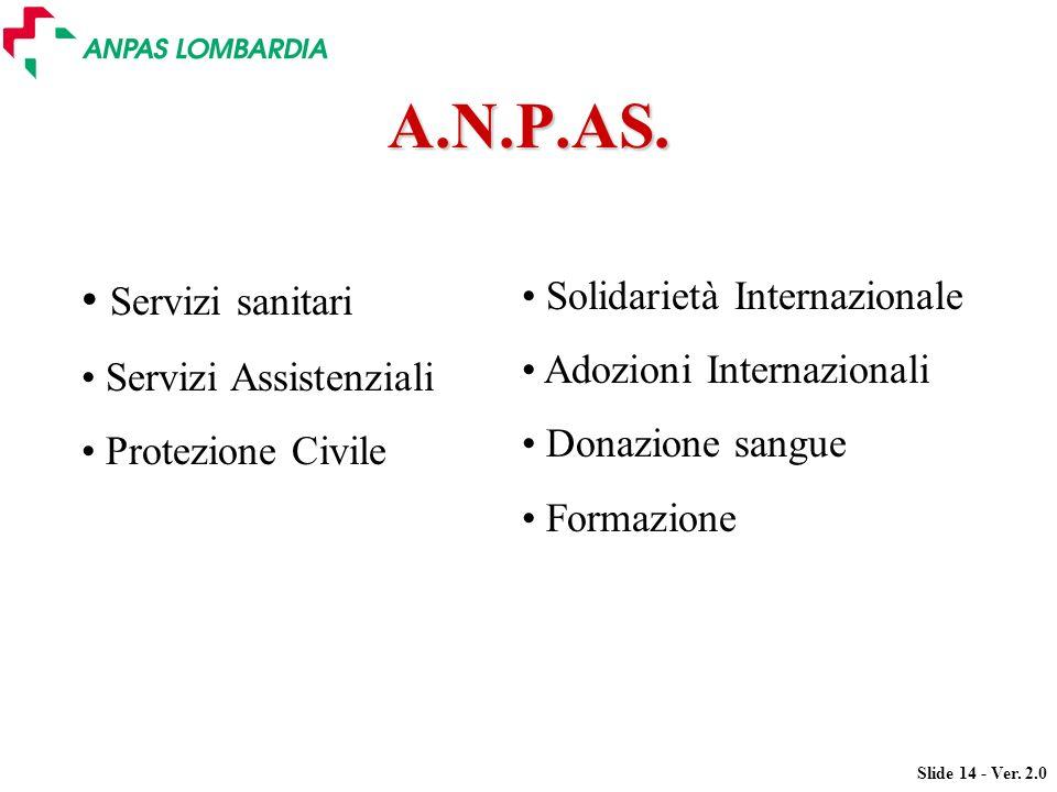 Slide 14 - Ver. 2.0 Servizi sanitari Servizi Assistenziali Protezione Civile A.N.P.AS. Solidarietà Internazionale Adozioni Internazionali Donazione sa