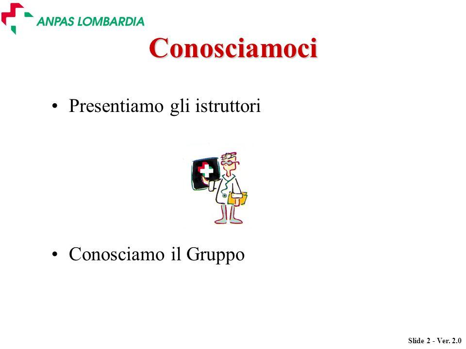 Slide 2 - Ver. 2.0 Conosciamoci Presentiamo gli istruttori Conosciamo il Gruppo