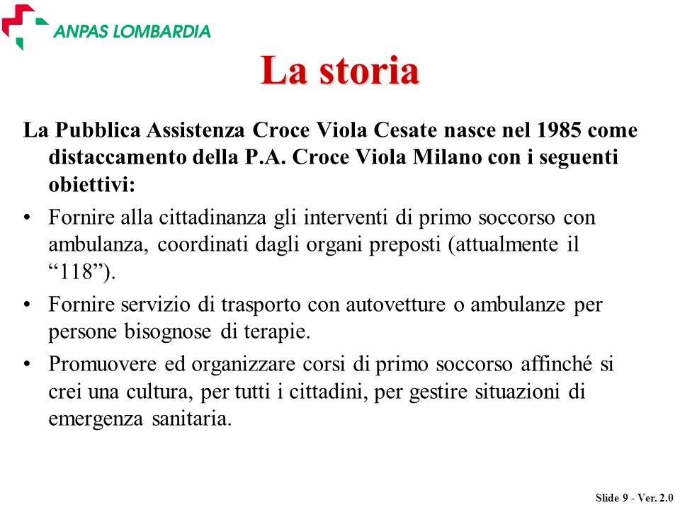 Slide 9 - Ver. 2.0 La storia La Pubblica Assistenza Croce Viola Cesate nasce nel 1985 come distaccamento della P.A. Croce Viola Milano con i seguenti