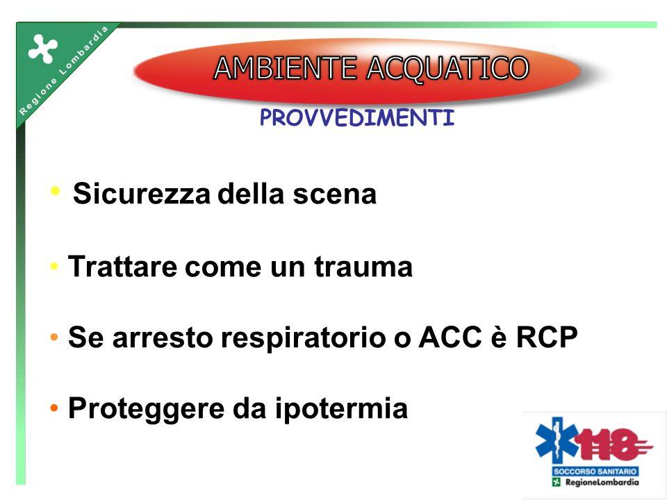Sicurezza della scena Trattare come un trauma Se arresto respiratorio o ACC è RCP Proteggere da ipotermia PROVVEDIMENTI