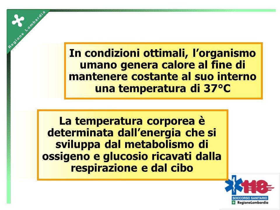 La temperatura corporea è determinata dallenergia che si sviluppa dal metabolismo di ossigeno e glucosio ricavati dalla respirazione e dal cibo In condizioni ottimali, lorganismo umano genera calore al fine di mantenere costante al suo interno una temperatura di 37°C