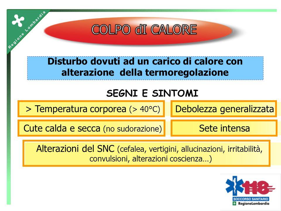 Disturbo dovuti ad un carico di calore con alterazione della termoregolazione SEGNI E SINTOMI > Temperatura corporea (> 40°C) Cute calda e secca (no sudorazione) Alterazioni del SNC (cefalea, vertigini, allucinazioni, irritabilità, convulsioni, alterazioni coscienza…) Debolezza generalizzataSete intensa