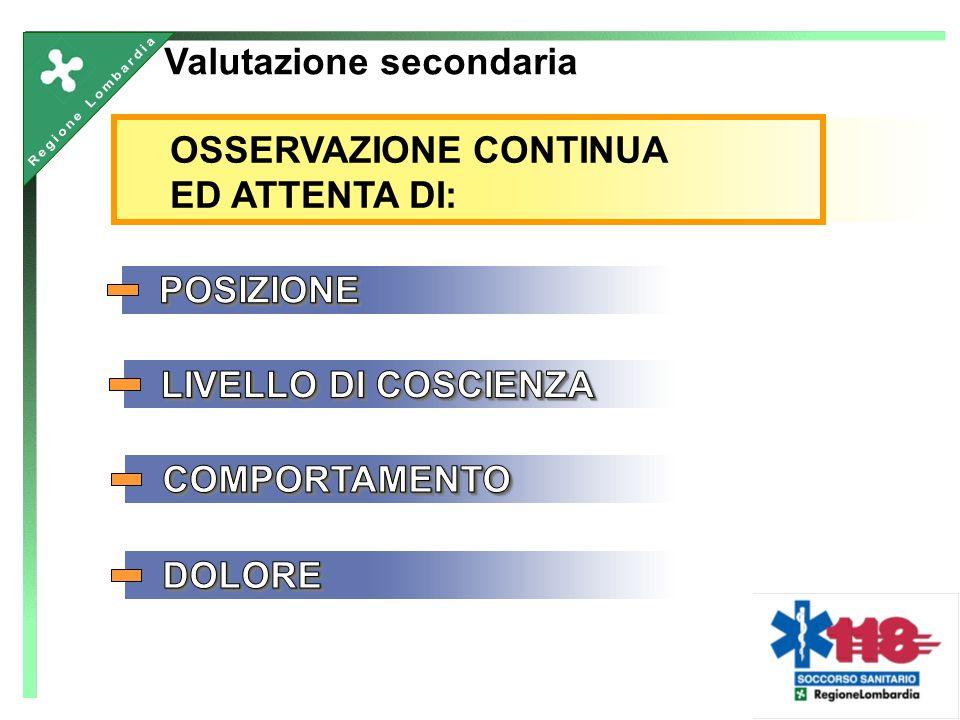 OSSERVAZIONE CONTINUA ED ATTENTA DI: Valutazione secondaria