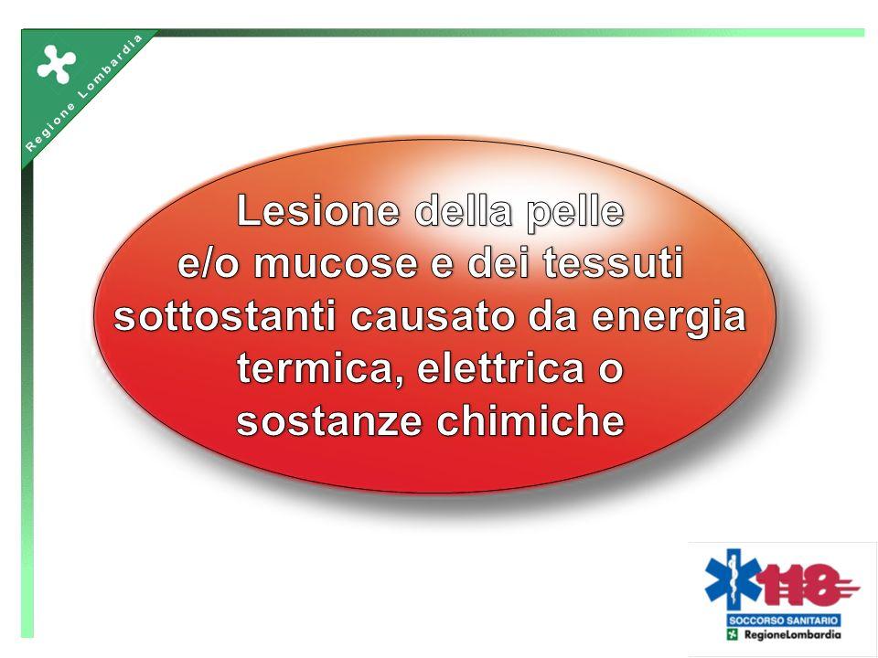 agenti termici (fuoco, vapore, ecc ) agenti chimici (caustici) elettrocuzione radiazioni in ambiente LAVORATIVO Tipologie delle ustioni