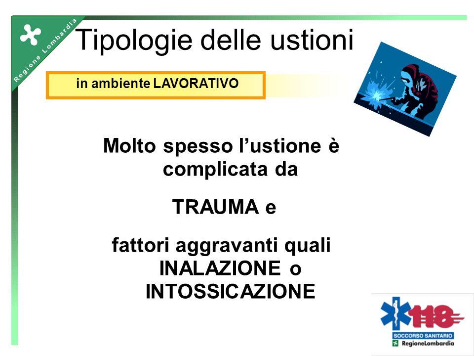 Molto spesso lustione è complicata da TRAUMA e fattori aggravanti quali INALAZIONE o INTOSSICAZIONE Tipologie delle ustioni in ambiente LAVORATIVO