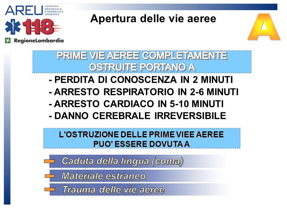 - PERDITA DI CONOSCENZA IN 2 MINUTI - ARRESTO RESPIRATORIO IN 2-6 MINUTI - ARRESTO CARDIACO IN 5-10 MINUTI - DANNO CEREBRALE IRREVERSIBILE L'OSTRUZION