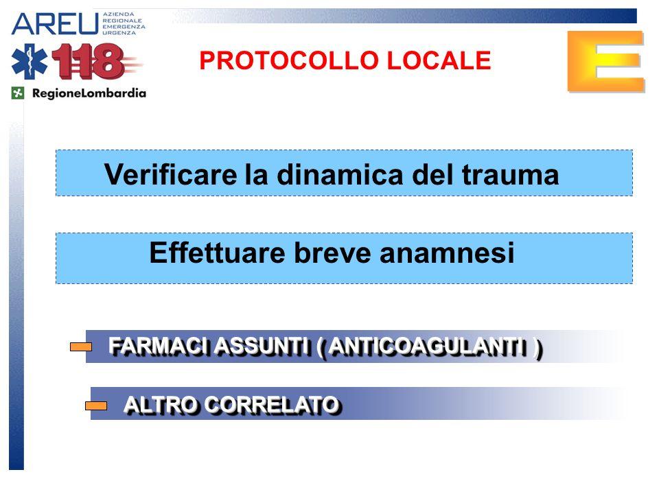Verificare la dinamica del trauma PROTOCOLLO LOCALE Effettuare breve anamnesi FARMACI ASSUNTI ( ANTICOAGULANTI ) ALTRO CORRELATO