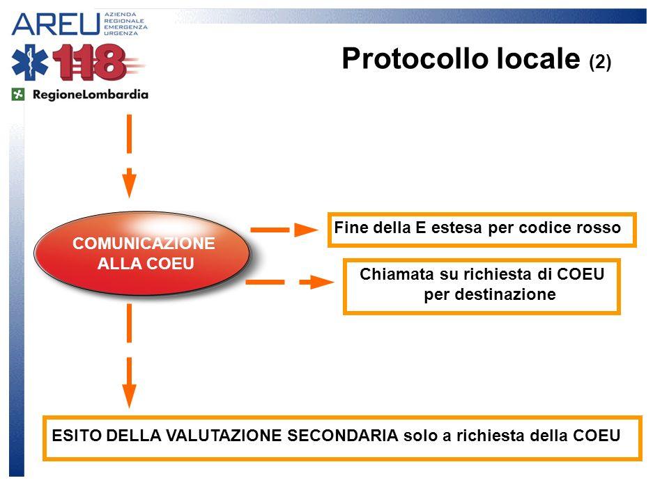 COMUNICAZIONE ALLA COEU Fine della E estesa per codice rosso Chiamata su richiesta di COEU per destinazione ESITO DELLA VALUTAZIONE SECONDARIA solo a