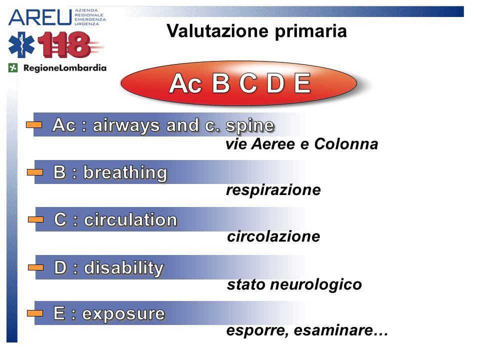 vie Aeree e Colonna respirazione circolazione stato neurologico esporre, esaminare…