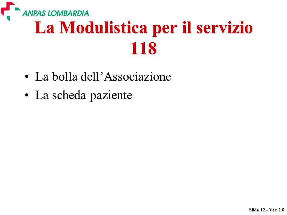 Slide 12 - Ver. 2.0 La Modulistica per il servizio 118 La bolla dellAssociazione La scheda paziente