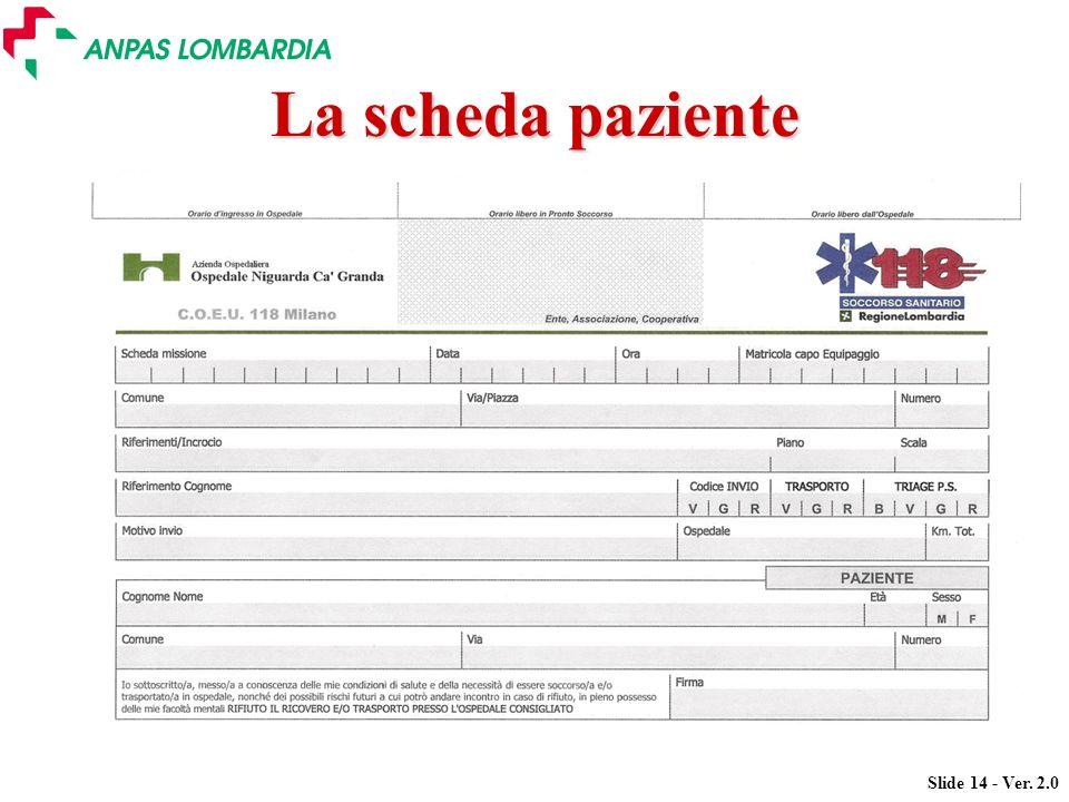 Slide 14 - Ver. 2.0 La scheda paziente