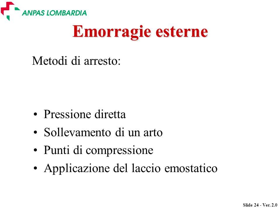 Slide 24 - Ver. 2.0 Emorragie esterne Pressione diretta Sollevamento di un arto Punti di compressione Applicazione del laccio emostatico Metodi di arr