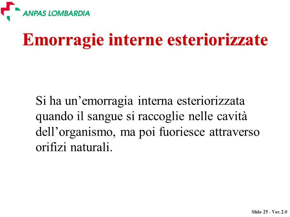 Slide 25 - Ver. 2.0 Emorragie interne esteriorizzate Si ha unemorragia interna esteriorizzata quando il sangue si raccoglie nelle cavità dellorganismo
