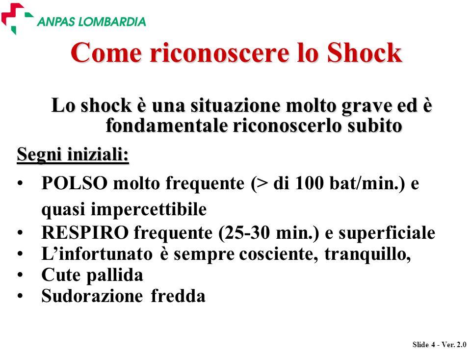 Slide 4 - Ver. 2.0 Come riconoscere lo Shock Lo shock è una situazione molto grave ed è fondamentale riconoscerlo subito Segni iniziali: POLSO molto f