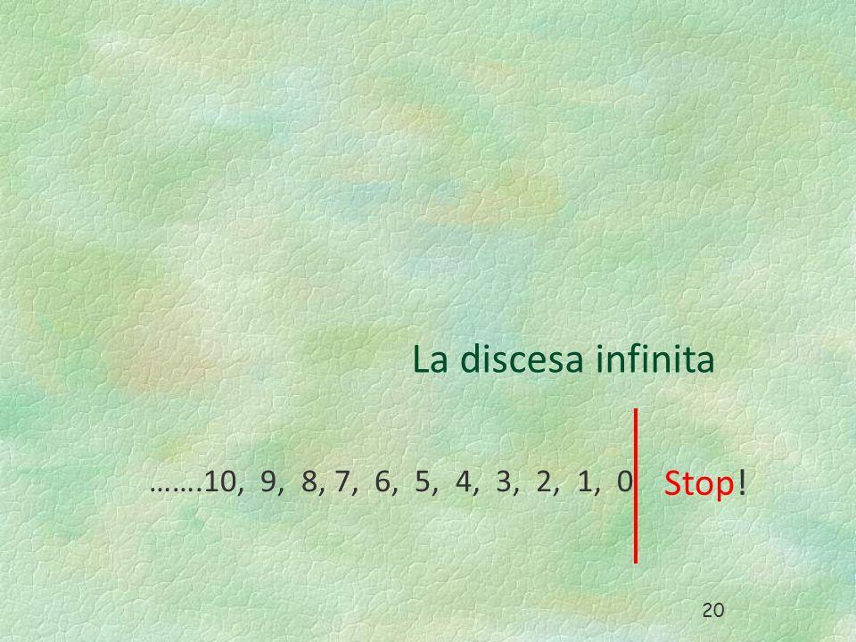 La discesa infinita …….10, 9, 8, 7, 6, 5, 4, 3, 2, 1, 0 Stop! 20