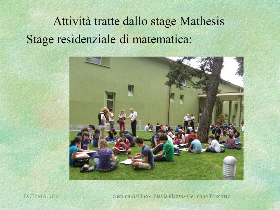 DI.FI.MA. 2011 Gemma Gallino - Flavia Piazza - Germana Trinchero Attività tratte dallo stage Mathesis Stage residenziale di matematica: