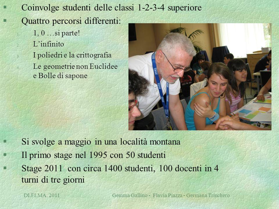 DI.FI.MA. 2011 Gemma Gallino - Flavia Piazza - Germana Trinchero §Coinvolge studenti delle classi 1-2-3-4 superiore §Quattro percorsi differenti: 1. 1