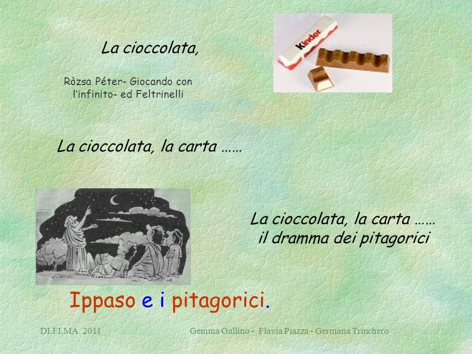 DI.FI.MA. 2011 Gemma Gallino - Flavia Piazza - Germana Trinchero La cioccolata, La cioccolata, la carta …… La cioccolata, la carta …… il dramma dei pi