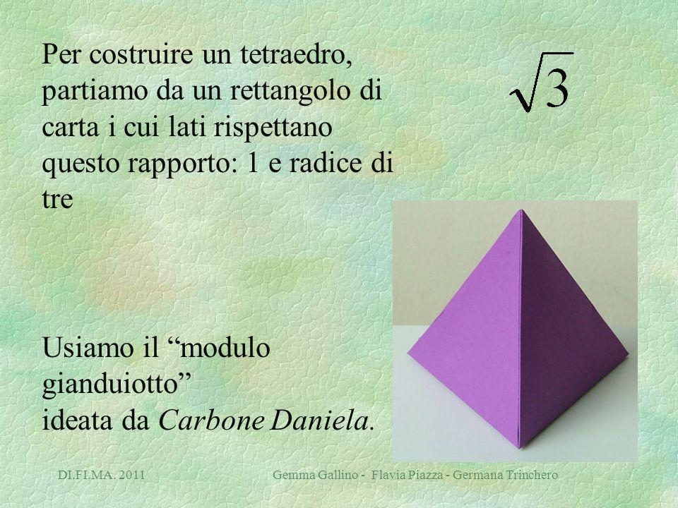 DI.FI.MA. 2011 Gemma Gallino - Flavia Piazza - Germana Trinchero Per costruire un tetraedro, partiamo da un rettangolo di carta i cui lati rispettano