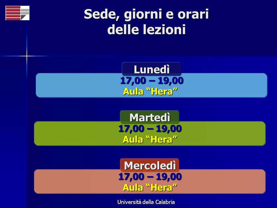 Università della Calabria Sede, giorni e orari delle lezioni 17,00 – 19,00 Aula Hera Lunedì 17,00 – 19,00 Aula Hera Martedì 17,00 – 19,00 Aula Hera Me