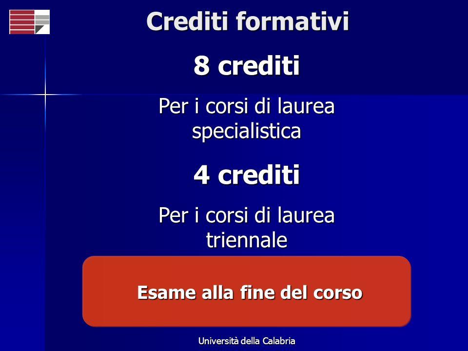 Università della Calabria Crediti formativi 8 crediti Per i corsi di laurea specialistica 4 crediti Per i corsi di laurea triennale Esame alla fine de