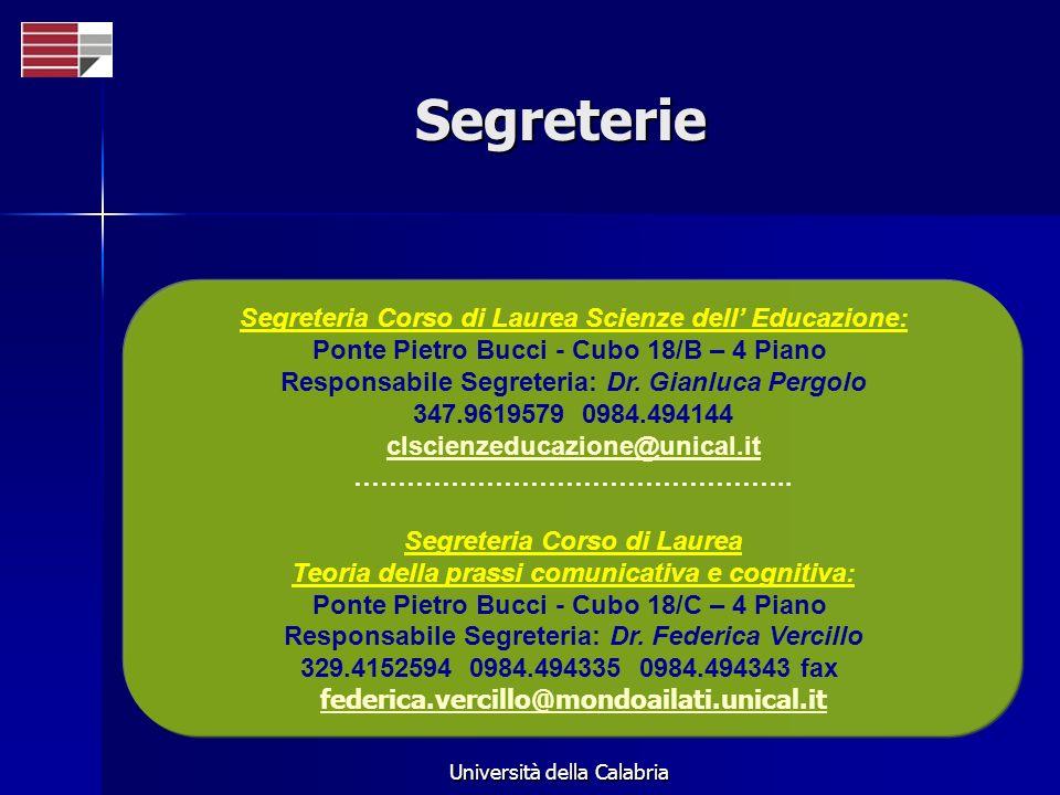 Università della Calabria Segreterie Segreteria Corso di Laurea Scienze dell Educazione: Ponte Pietro Bucci - Cubo 18/B – 4 Piano Responsabile Segrete