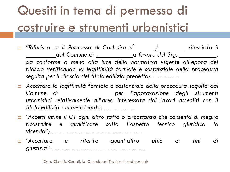 Quesiti in tema di permesso di costruire e strumenti urbanistici Riferisca se il Permesso di Costruire n°______/________ rilasciato il _________dal Co