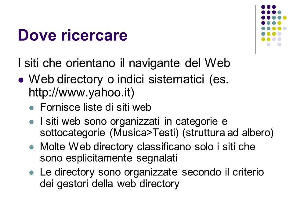 Dove ricercare I siti che orientano il navigante del Web Web directory o indici sistematici (es. http://www.yahoo.it) Fornisce liste di siti web I sit