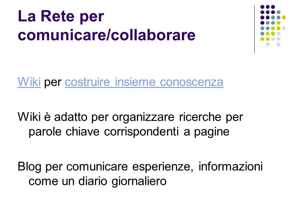 La Rete per comunicare/collaborare WikiWiki per costruire insieme conoscenzacostruire insieme conoscenza Wiki è adatto per organizzare ricerche per parole chiave corrispondenti a pagine Blog per comunicare esperienze, informazioni come un diario giornaliero
