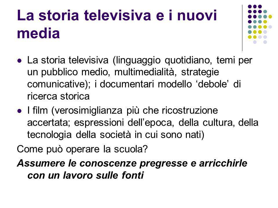 La storia televisiva e i nuovi media La storia televisiva (linguaggio quotidiano, temi per un pubblico medio, multimedialità, strategie comunicative);